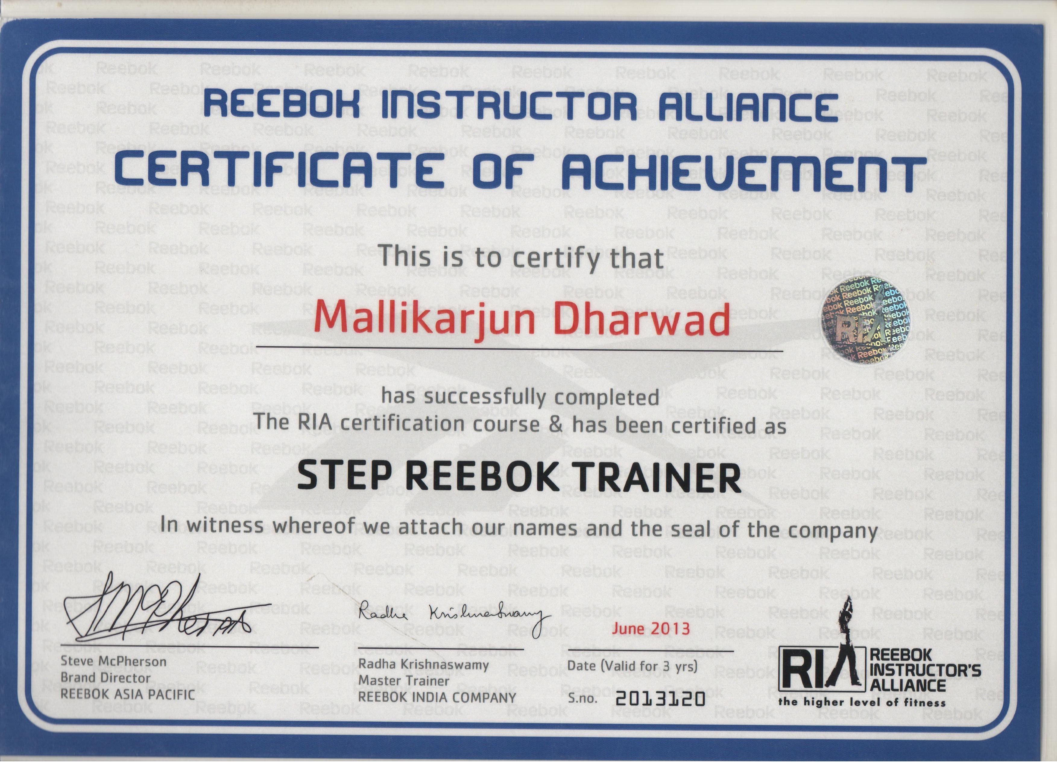 reebok certified trainer